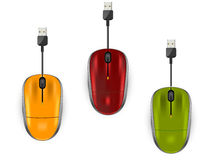 Three color computer mouse Stock Photography