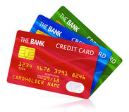 Three color credit cards Royalty Free Stock Image