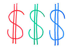 Three color dollar signs, hand Stock Image