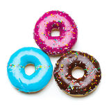 Three color donuts stock photos