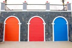 The three-color door stock photos