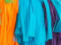 Three color fabric. In temple and belief Stock Photos