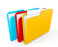 Three color folders Royalty Free Stock Photography