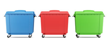 Three color garbage containers isolated on white Stock Images