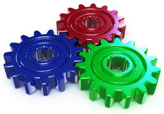 Three color gear. Three metal color gear. concept union different elements Stock Illustration
