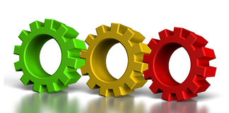 Three color gears Stock Images