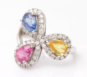 Three Color Gemstone Ring Stock Images