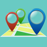 Three color geolocation signs Royalty Free Stock Photo