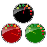 Three color glossy clocks  graphic Royalty Free Stock Photography