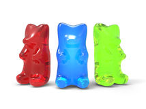 Three Color Gummy Bears Stock Image