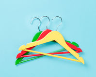 Three color hangers Royalty Free Stock Photo