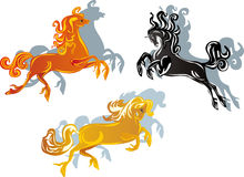 Three color horses on white Royalty Free Stock Photos
