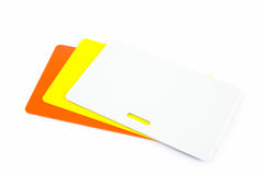 Three color ID cards. Different colored ID cards isolated against white background stock image