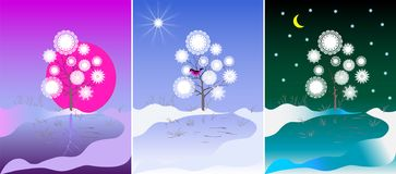 Three color images of a tree Royalty Free Stock Image