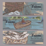 Three color landscape banners with fishing related sketches. Stock Images