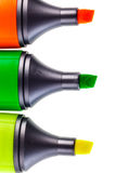 Three color markers Stock Photos
