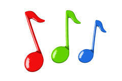 Three color music notes Stock Image