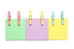 Three Color Notepad With Wood Clips Stock Photography