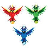 Three color owls Stock Image