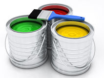 Three color paint cans Stock Photo