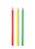 Three color pencils. On white stock photography