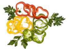 Three color peper slices Royalty Free Stock Photography