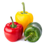 Three color peppers isolated on white. Red,yellow and green peppers against plain white background Stock Photo