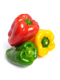 Three color peppers pyramid Stock Photo