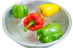 Three color peppers. Washed three colored peppers to cook Royalty Free Stock Photos
