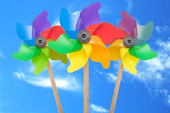 Three color pinwheel. Toys against blue sky Stock Photo