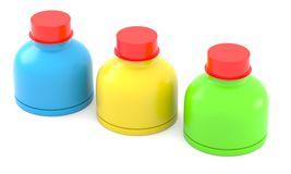 Three color plastic bottles Stock Photos