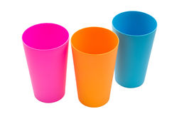 Three color plastic cup Royalty Free Stock Photography
