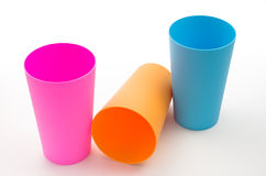 Three color plastic cup Stock Photo