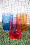 Three color plastic cups Stock Photo