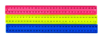 Three color plastic rulers. Isolated on white Stock Photo