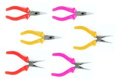 Three color of pliers Royalty Free Stock Images