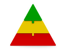 Three color puzzle pyramid. Three color puzzle pieces compose pyramid - represents three steps,  on a white background, three-dimensional rendering, 3D Stock Image