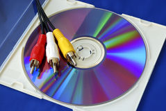 Three-color RCA video cables on a CD Royalty Free Stock Image