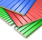Three color Roof Panels. Composition of Three color Roof sandwich Panels vector illustration