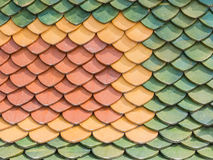 Three color  roof tiles of Buddhist temple Stock Photos