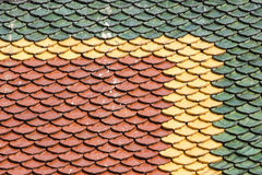 Three color roof tiles of Buddhist temple Royalty Free Stock Image