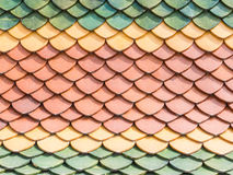 Three color  roof tiles of Buddhist temple Royalty Free Stock Images