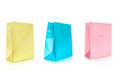 Three color shopping bags Royalty Free Stock Photography