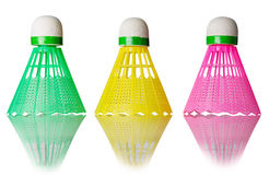 Three color shuttlecocks Royalty Free Stock Images