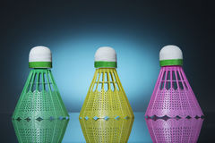 Three color shuttlecocks. For playing badminton Royalty Free Stock Image