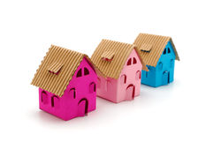 Three color small houses Stock Image