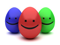 Three color smiling easter eggs isolated Stock Photography