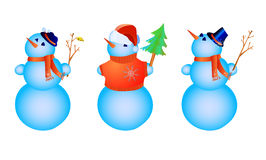 Three color snowmen Royalty Free Stock Image