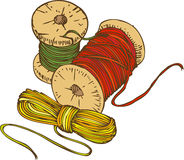 Three Color Spools of Thread Royalty Free Stock Image