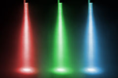 Three color spotlights. On stage stock photography